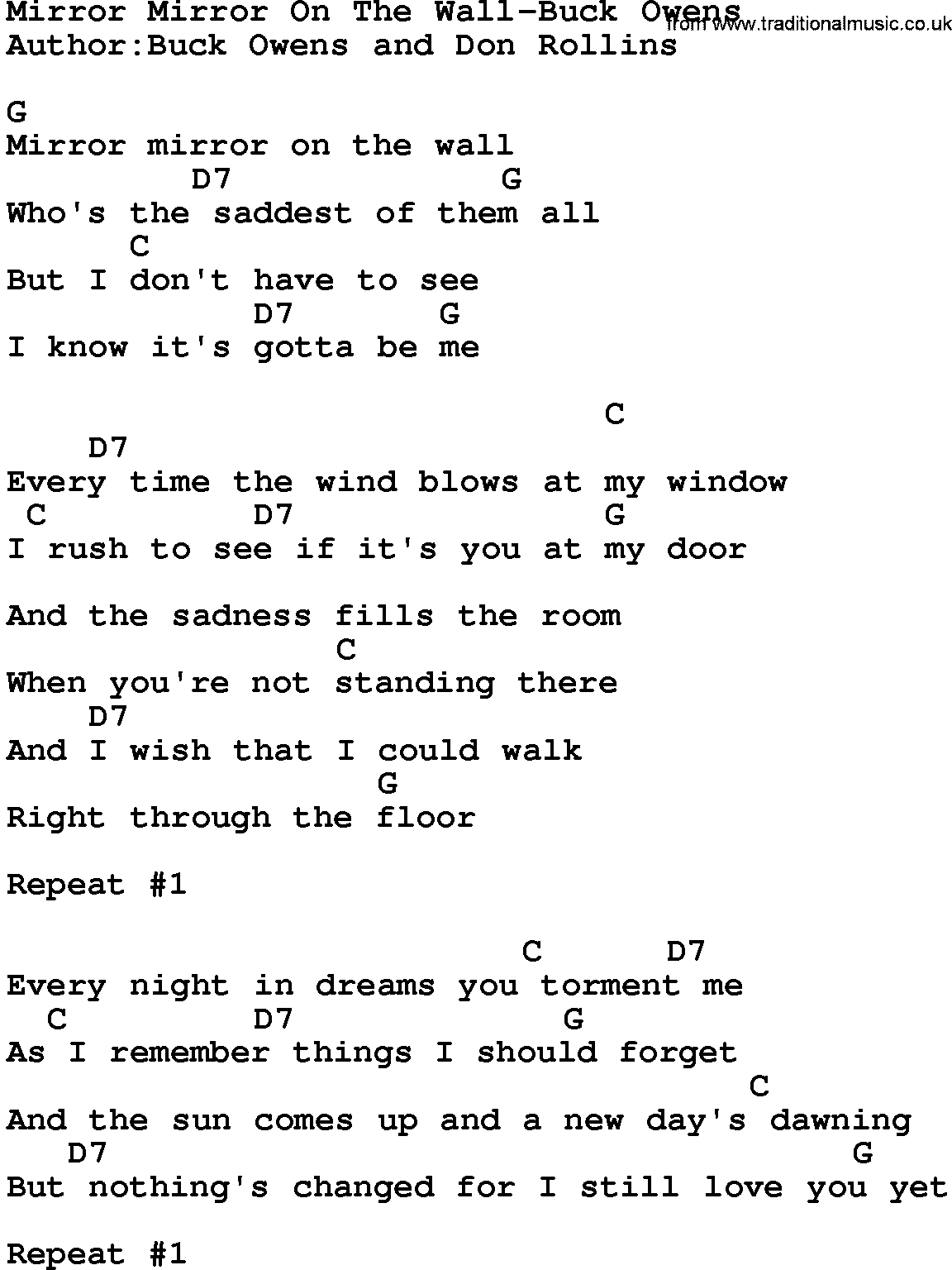 country music mirror mirror on the wall buck owens lyrics