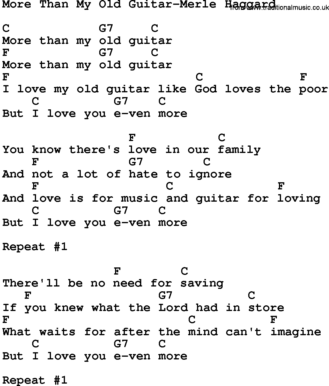 Country Musicmore Than My Old Guitar Merle Haggard Lyrics And Chords
