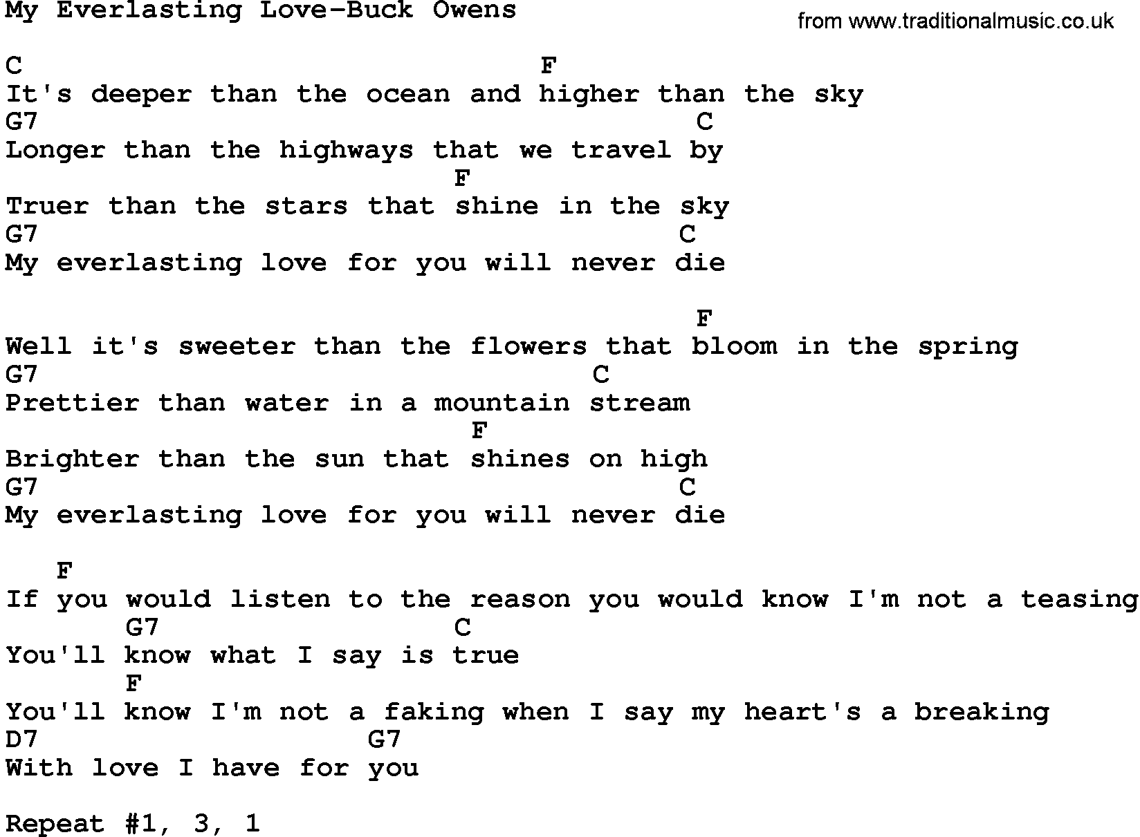 Country Musicmy Everlasting Love Buck Owens Lyrics And Chords
