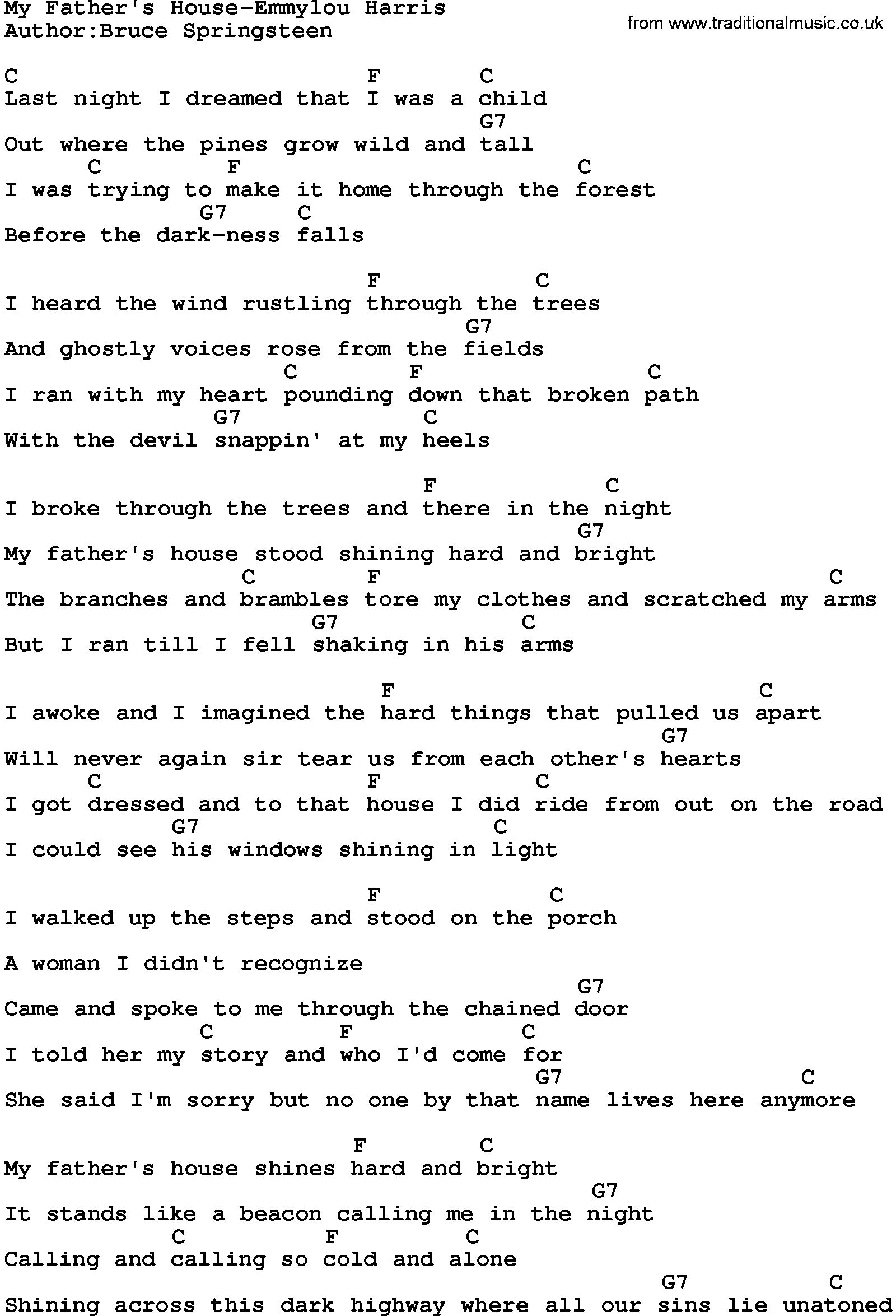 Country MusicMy Fathers House Emmylou Harris Lyrics and Chords