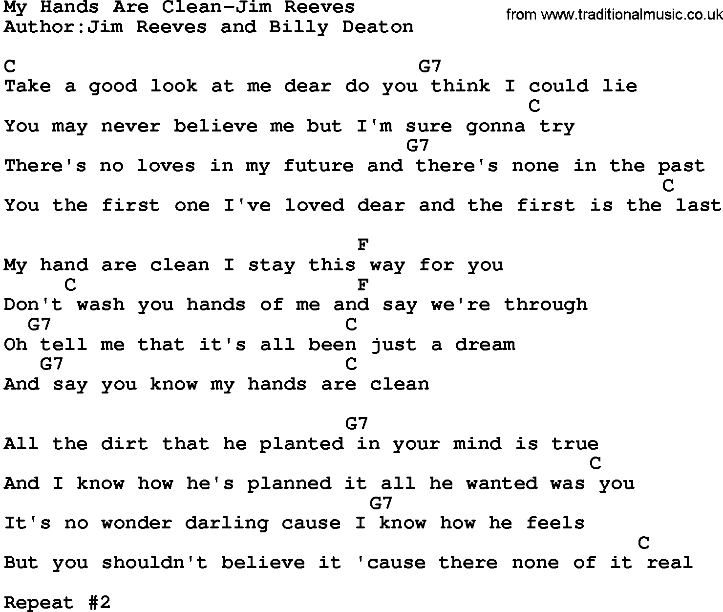 Country music my hands are clean jim reeves lyrics and chords for Music to clean to