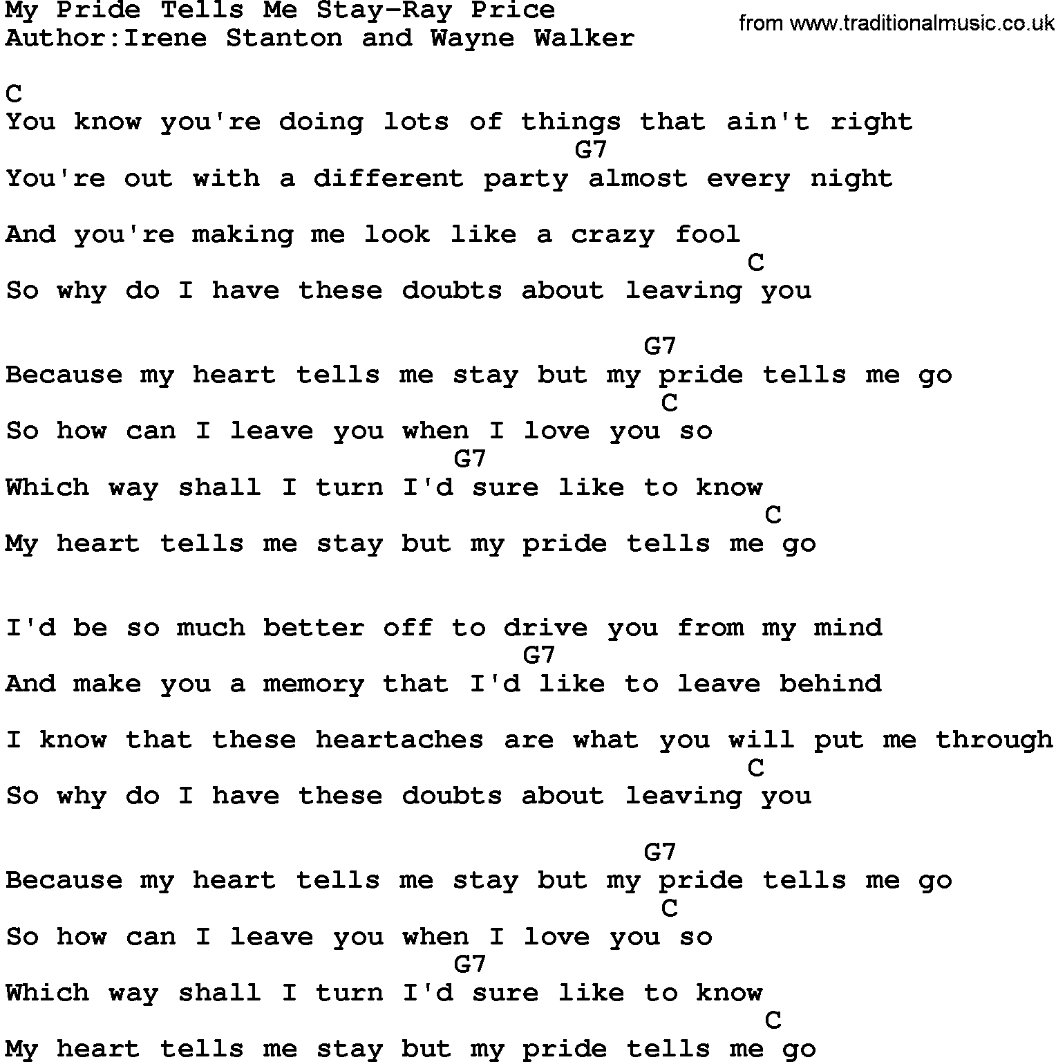 Country Music:My Pride Tells Me Stay-Ray Price Lyrics and Chords