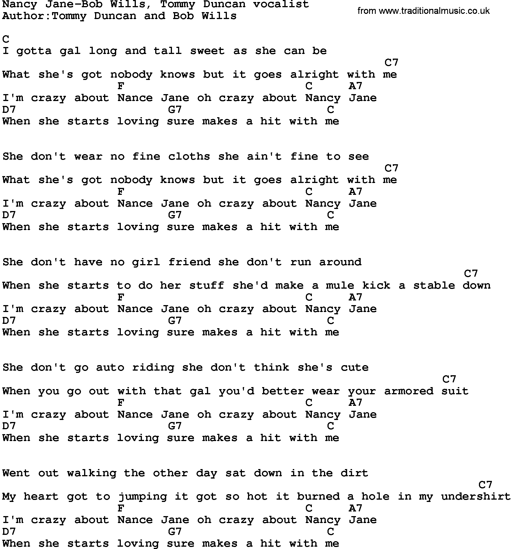 Country Musicnancy Jane Bob Wills Lyrics And Chords