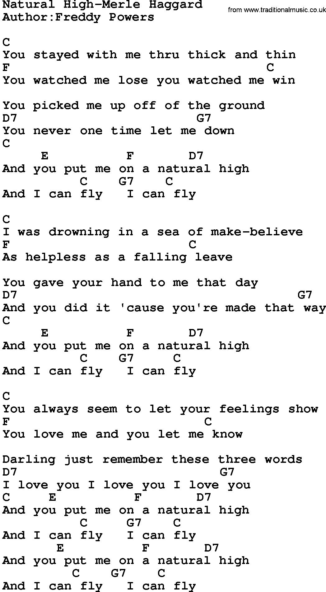 Country Musicnatural High Merle Haggard Lyrics And Chords