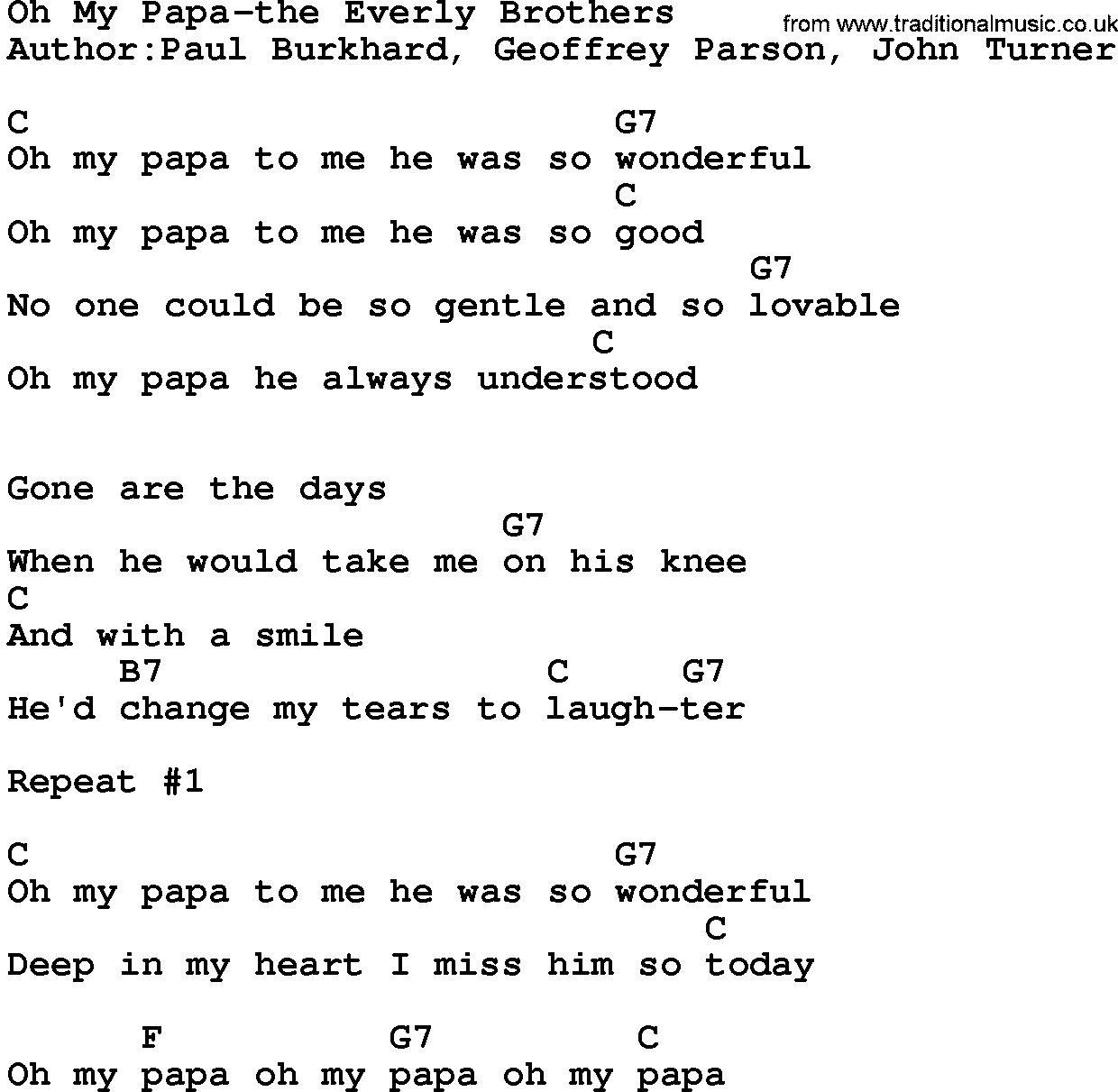 graphic regarding All About My Papa Printable named State New music:Oh My Papa-The Everly Brothers Lyrics and Chords