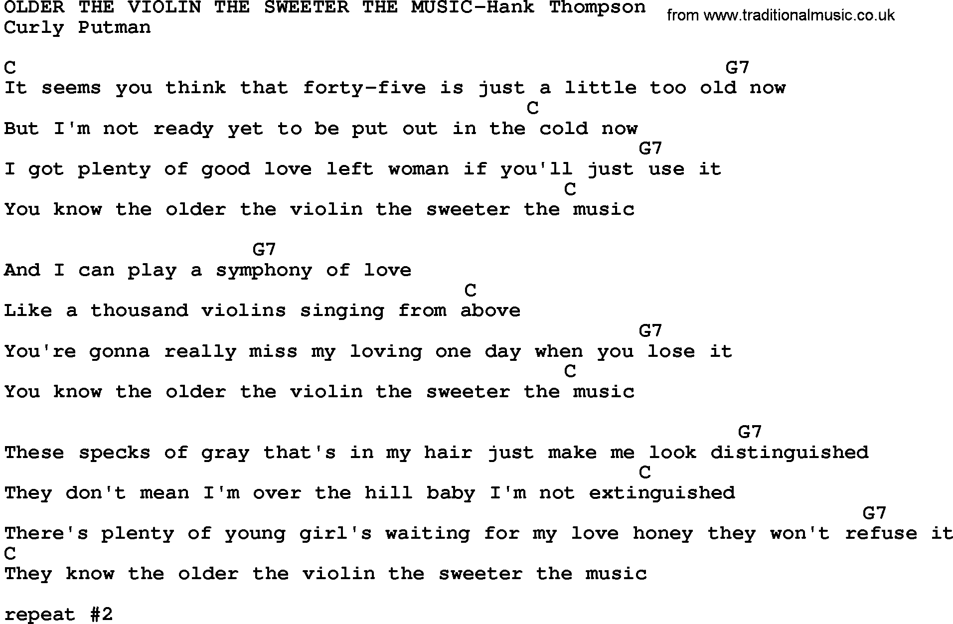 Country Music:Older The Violin The Sweeter The Music-Hank Thompson Lyrics and Chords