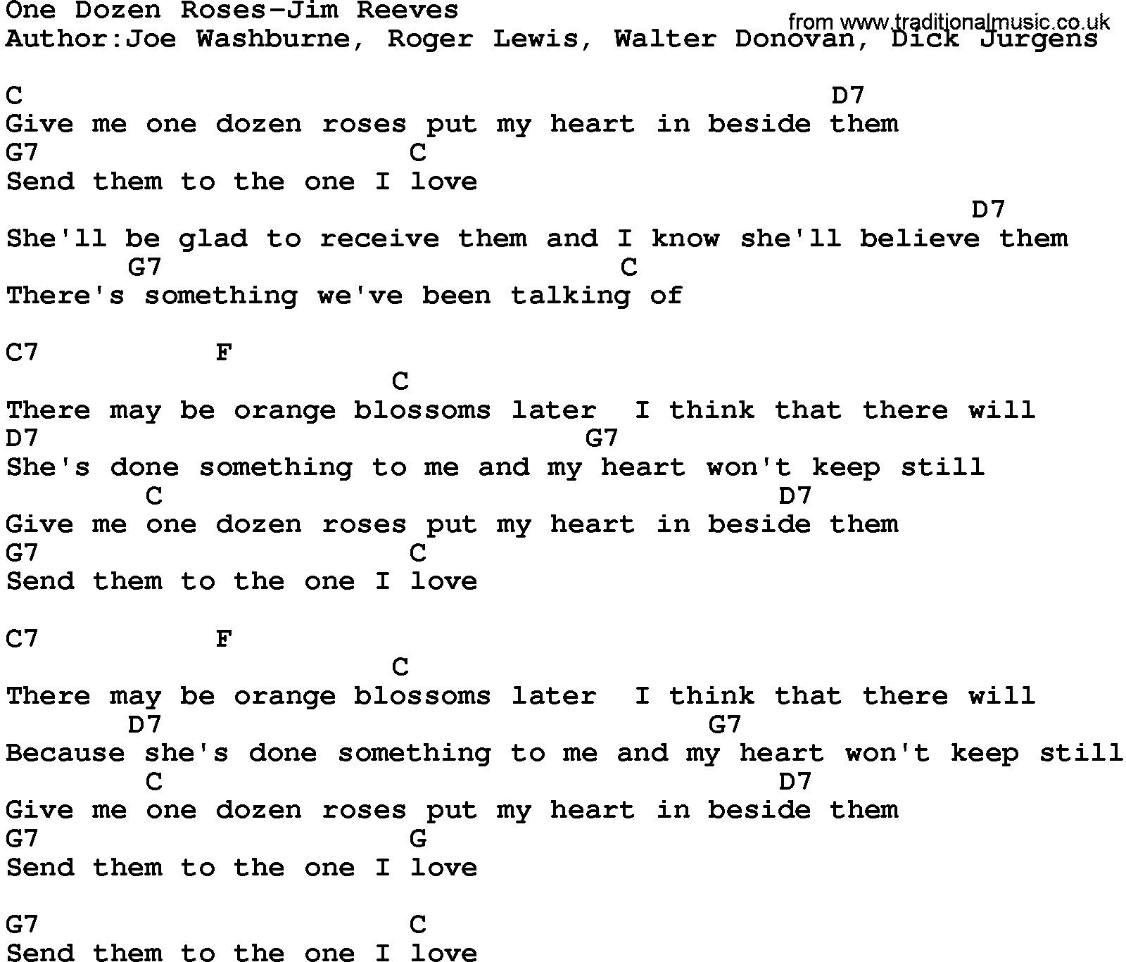 Country MusicOne Dozen Roses Jim Reeves Lyrics And Chords
