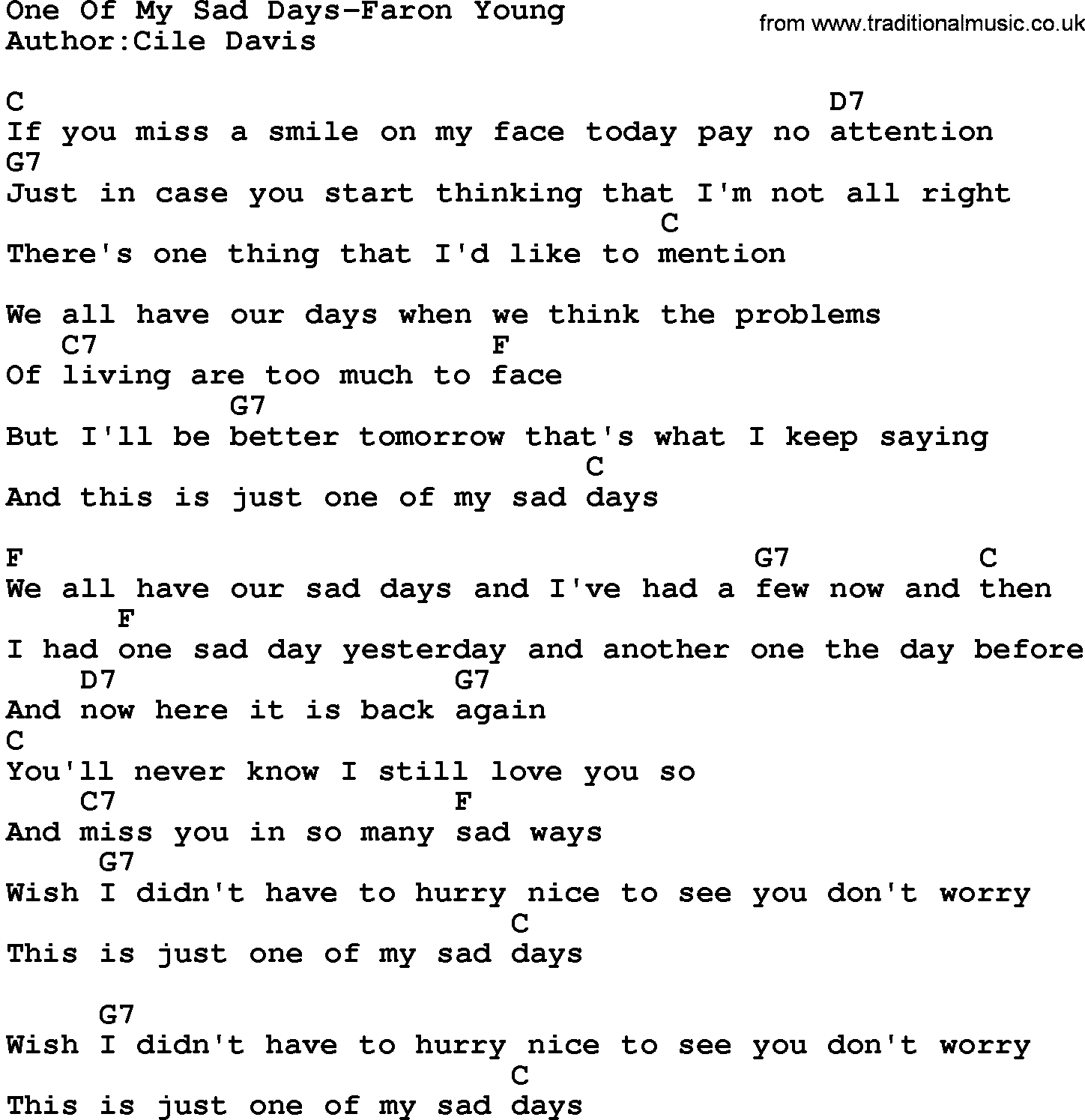 Country Music:One Of My Sad Days-Faron Young Lyrics and Chords Sad Lyrics