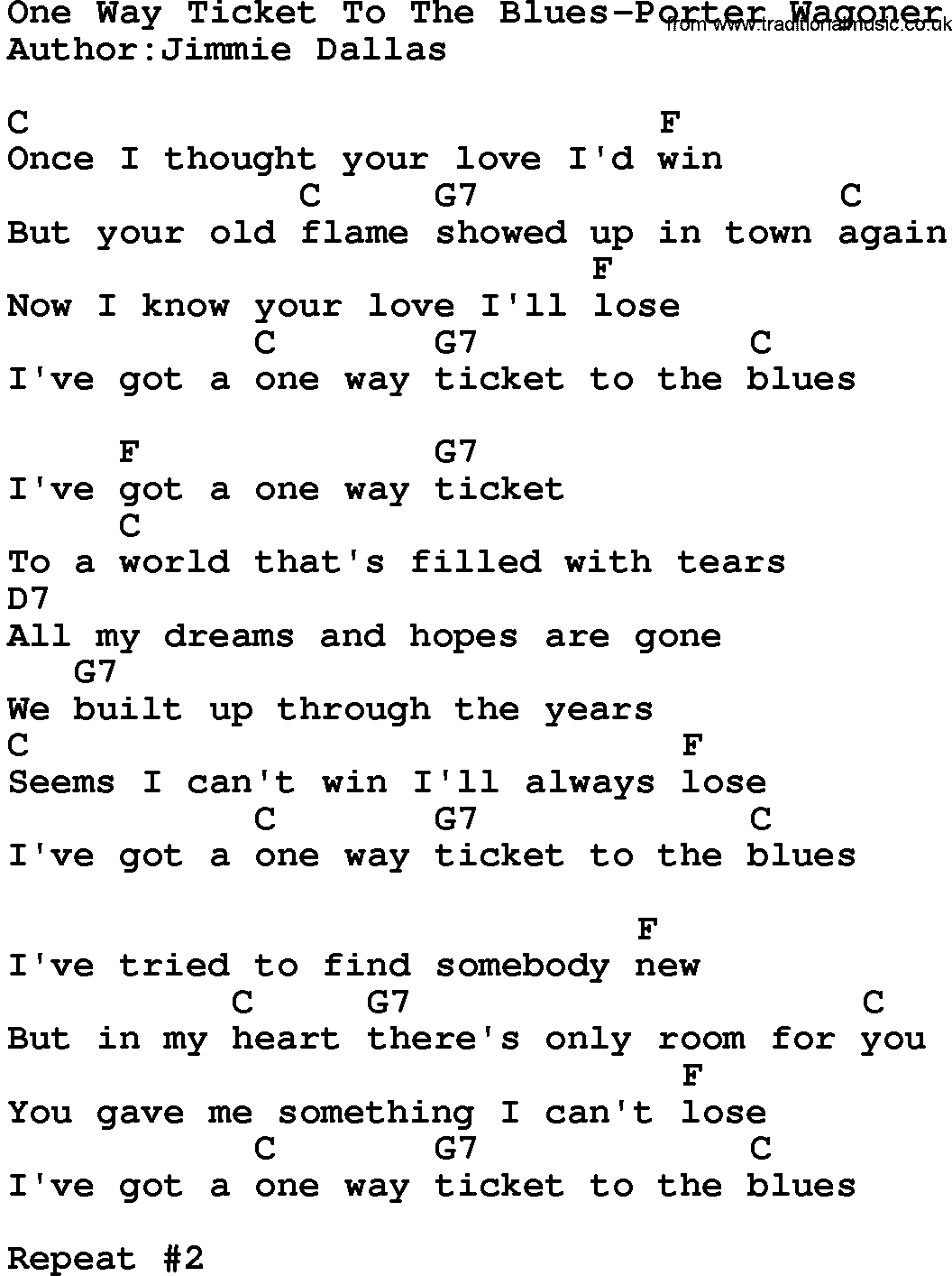 Country Musicone Way Ticket To The Blues Porter Wagoner Lyrics And Chords