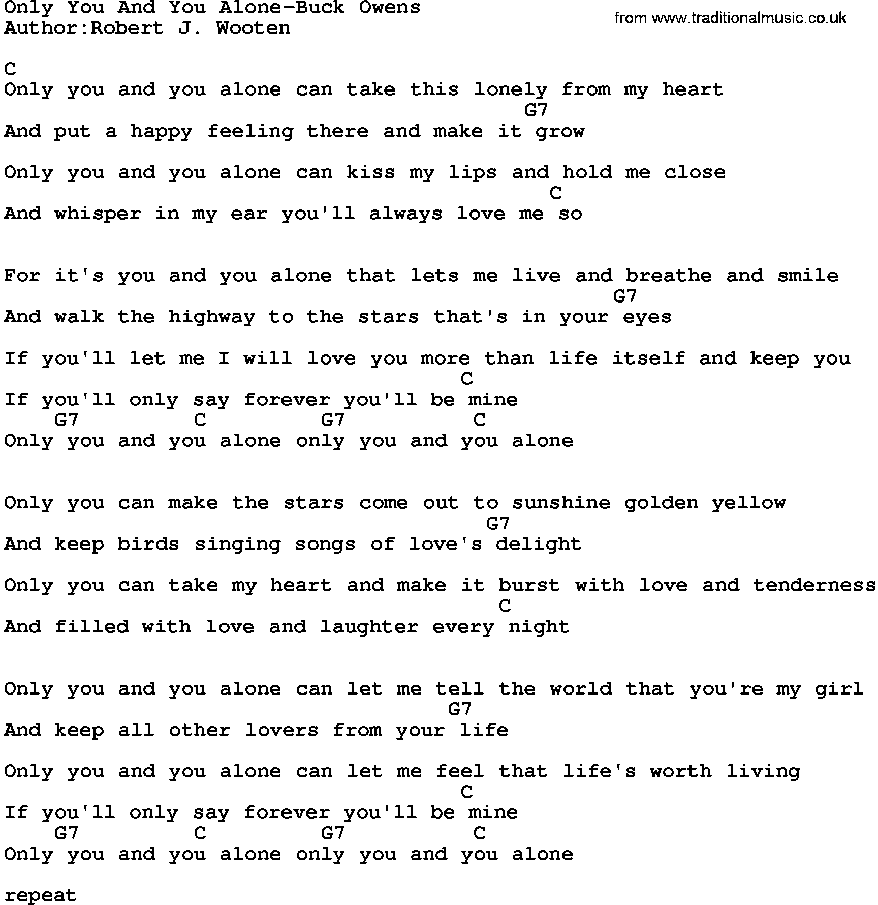 Country Musiconly You And You Alone Buck Owens Lyrics And Chords