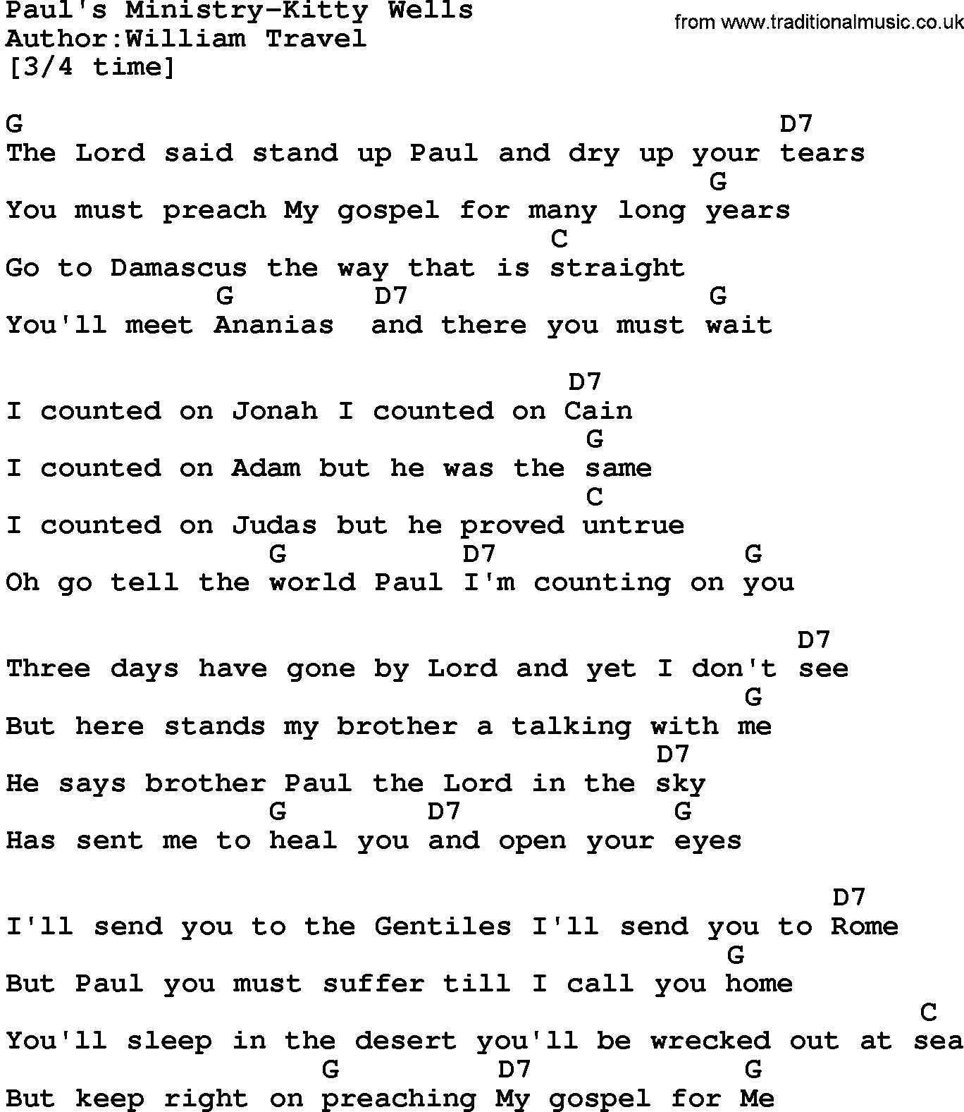 Country Musicpauls Ministry Kitty Wells Lyrics And Chords