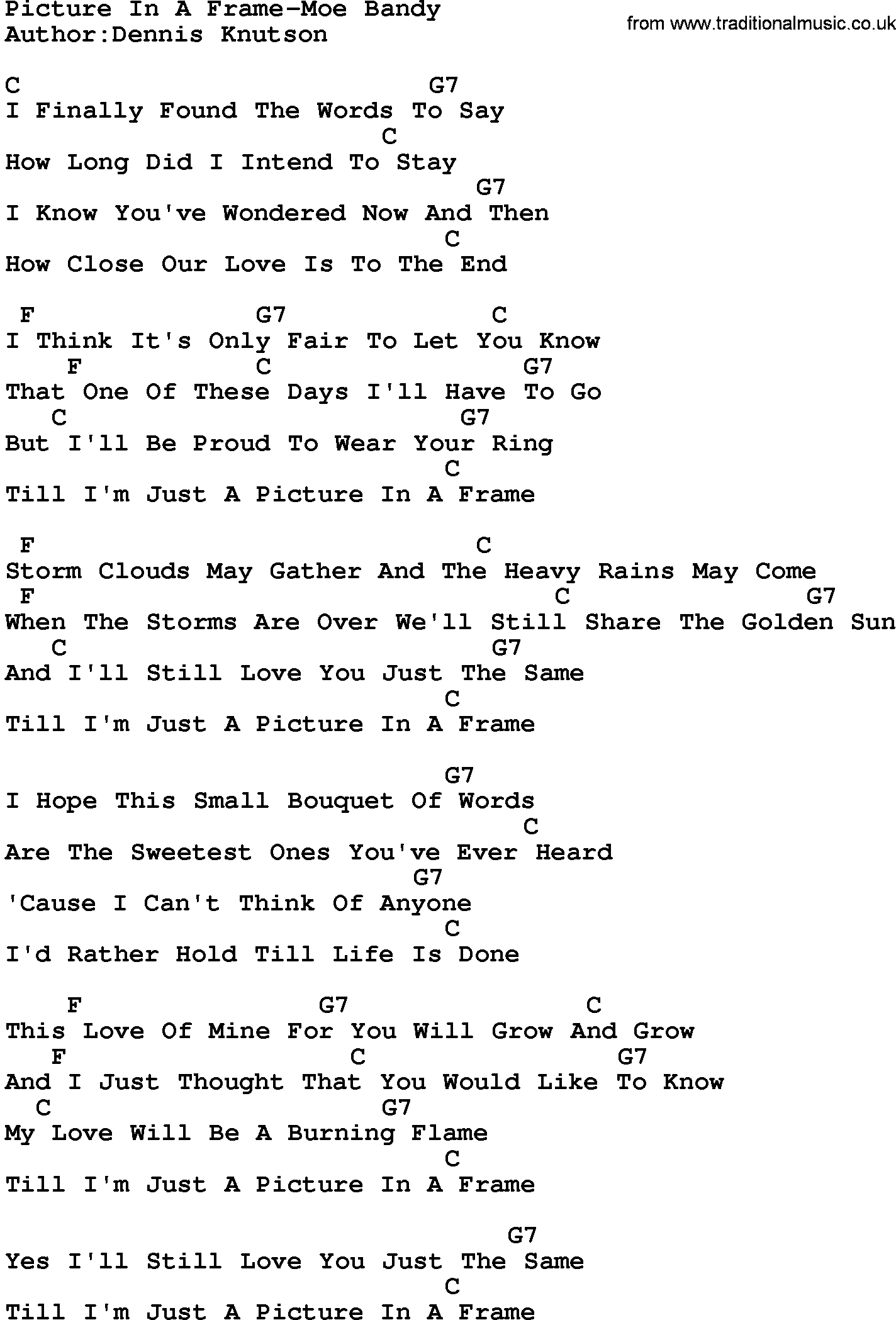 Country Music:Picture In A Frame-Moe Bandy Lyrics and Chords