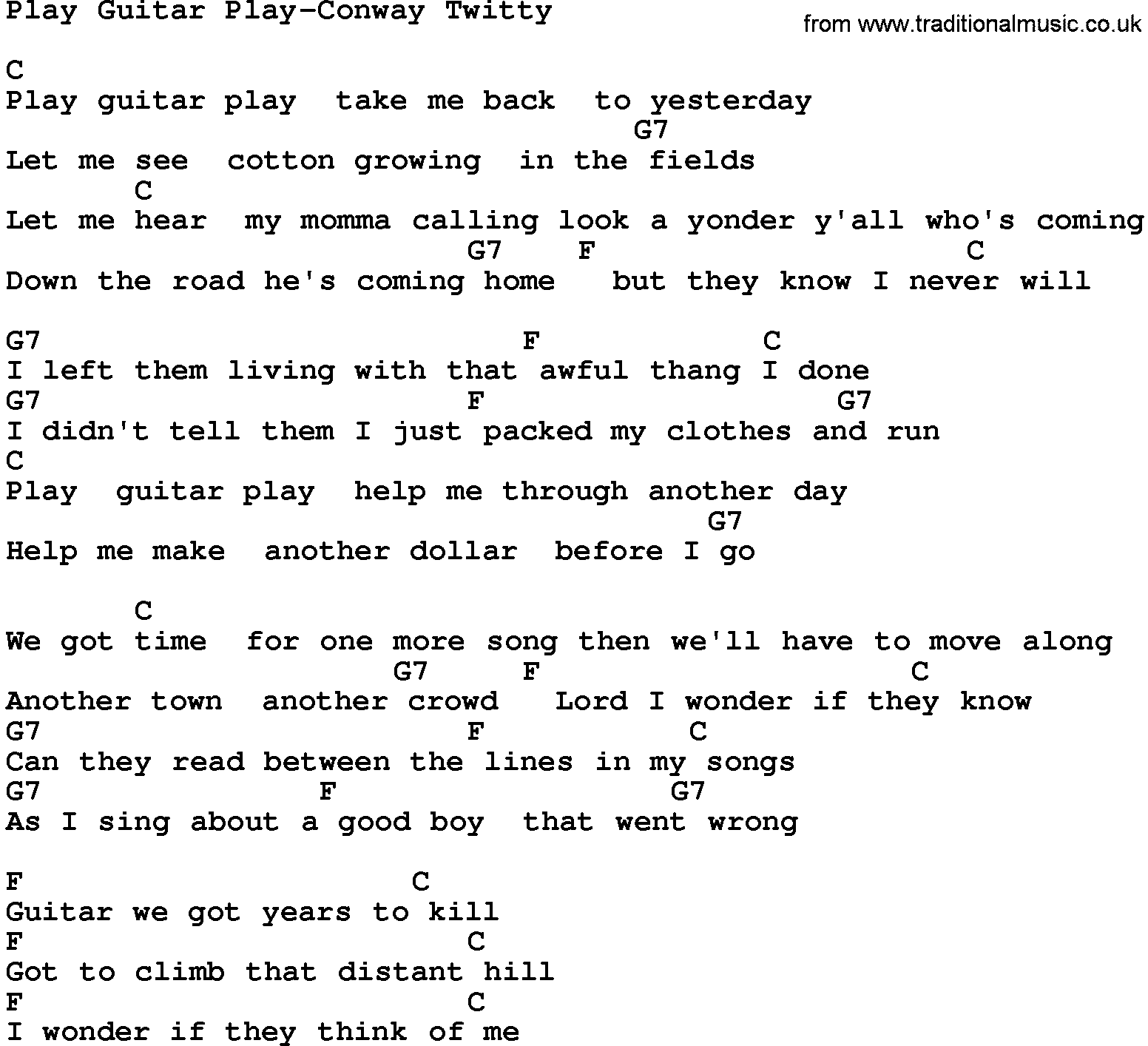 Country musicplay guitar play conway twitty lyrics and chords ccuart Choice Image