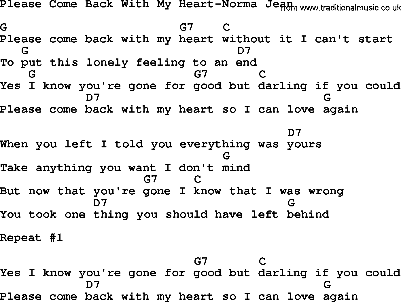 Download please come back with my heart norma jean lyrics and chords