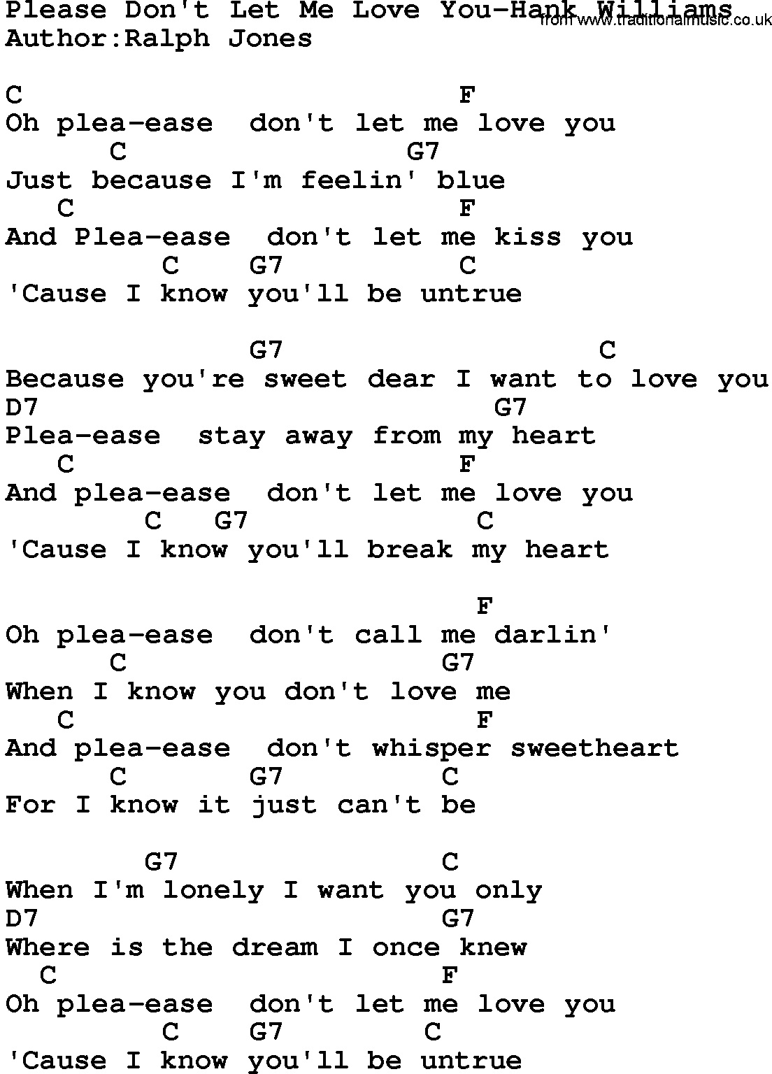 Country musicplease dont let me love you hank williams lyrics country musicplease dont let me love you hank williams lyrics and chords hexwebz Images