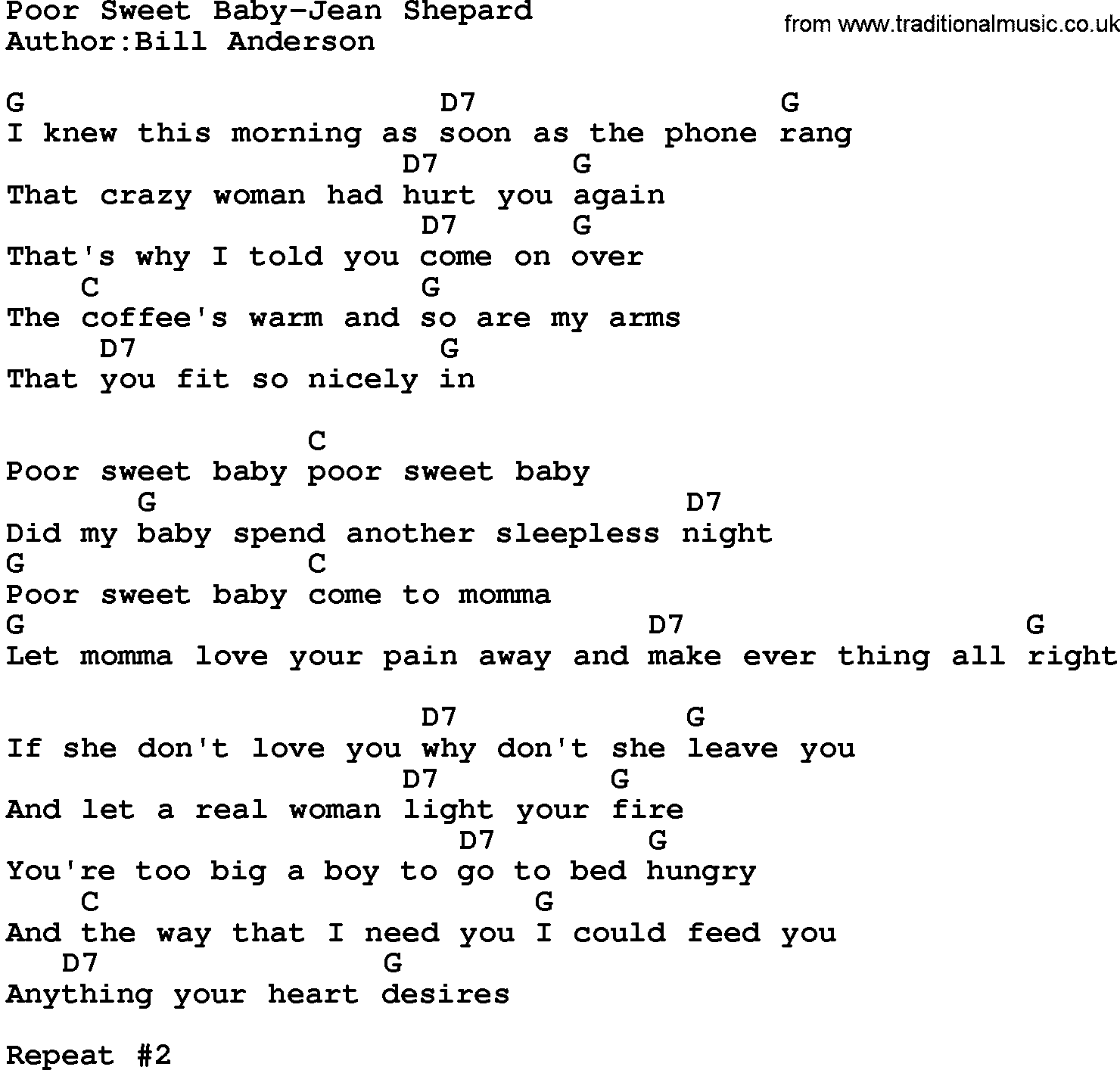 Country Musicpoor Sweet Baby Jean Shepard Lyrics And Chords