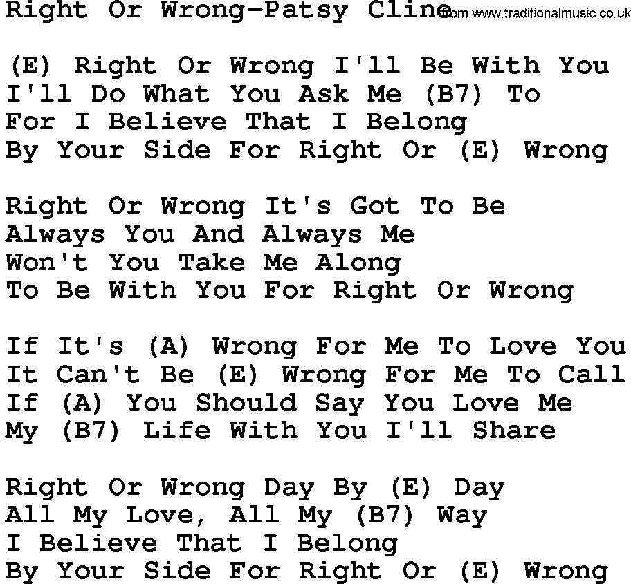 Country Musicright Or Wrong Patsy Cline Lyrics And Chords