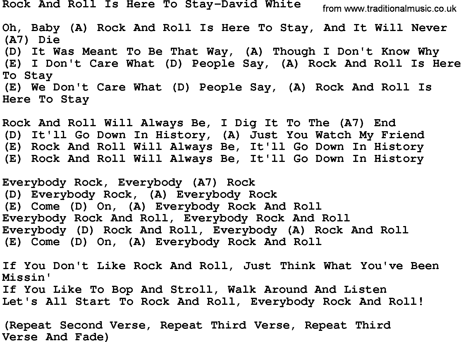 Time Song Lyrics With Chords For When The Roll Is: Country Music:Rock And Roll Is Here To Stay-David White