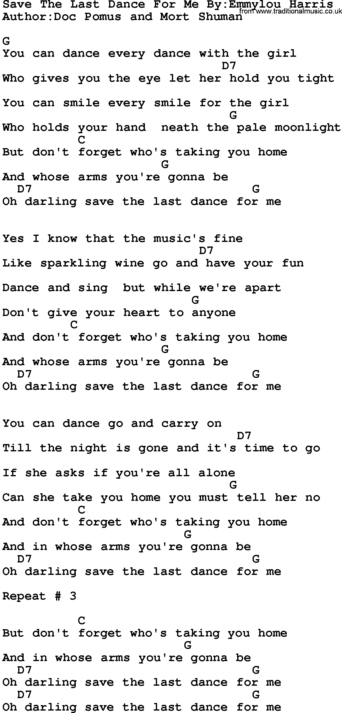 Country Musicsave The Last Dance For Me Byemmylou Harris Lyrics