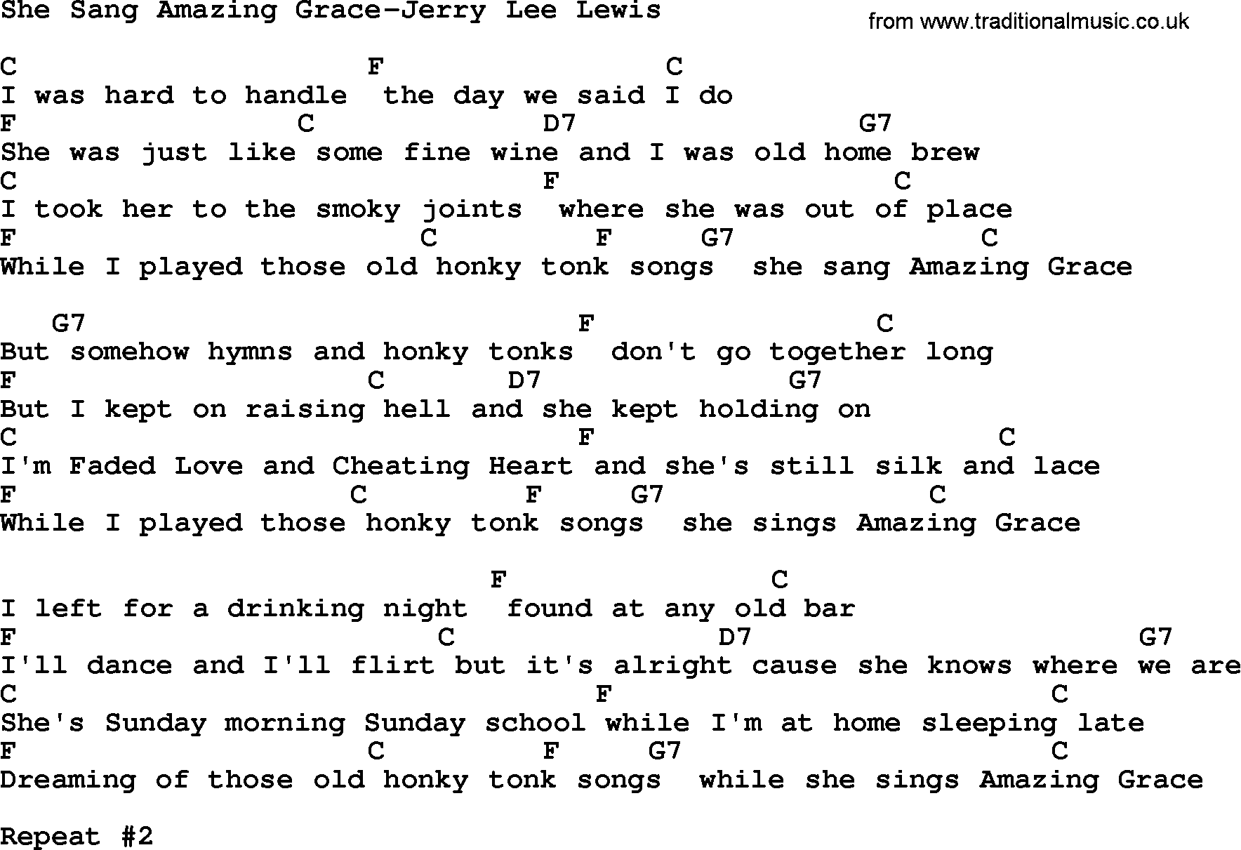 Country Musicshe Sang Amazing Grace Jerry Lee Lewis Lyrics And Chords
