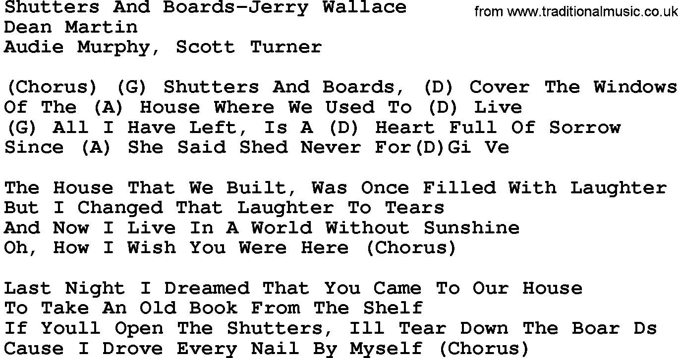 Country Music:Shutters And Boards-Jerry Wallace Lyrics and