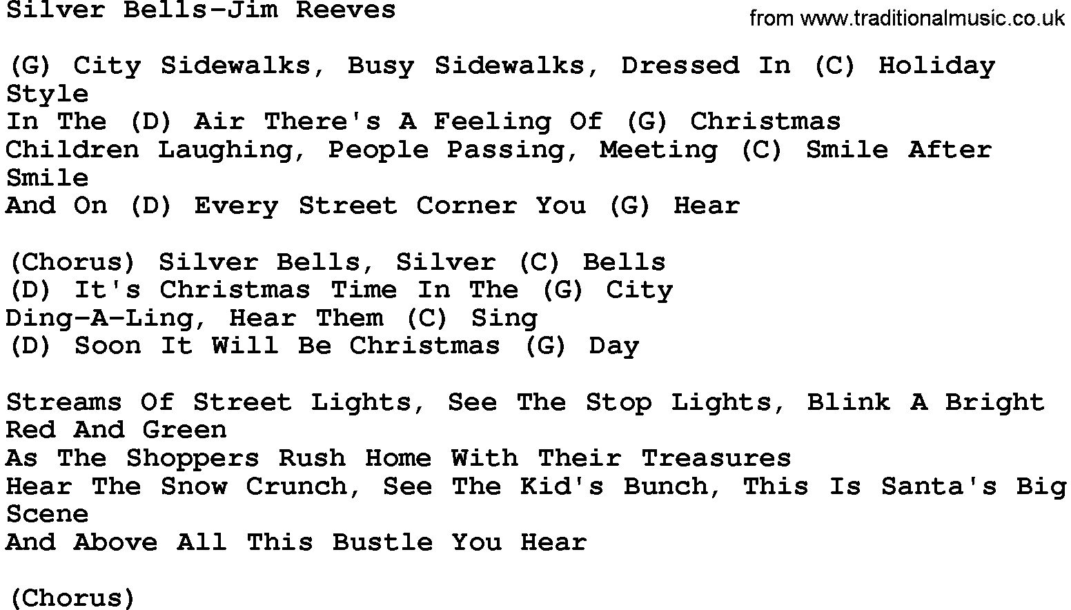 Country Music:Silver Bells-Jim Reeves Lyrics and Chords