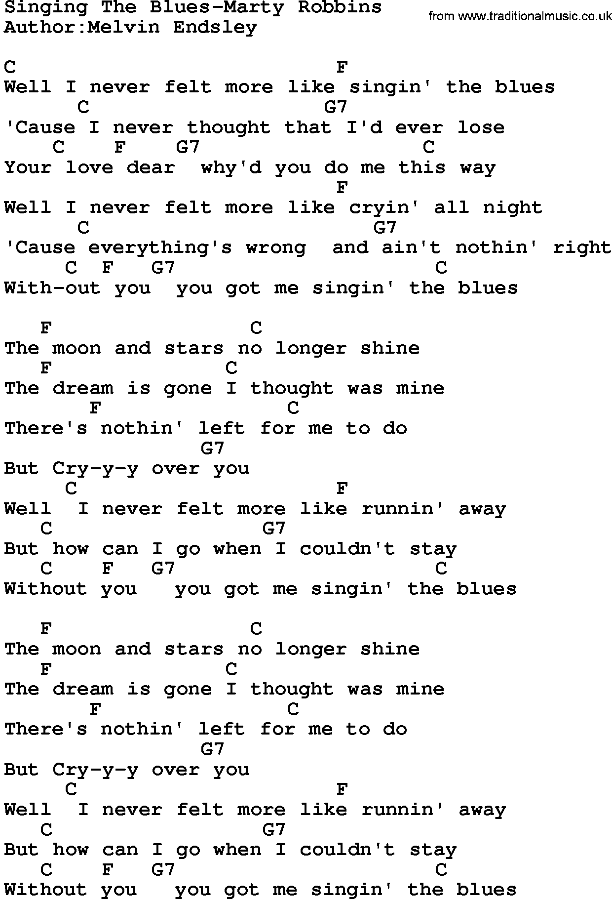 Country Musicsinging The Blues Marty Robbins Lyrics And Chords