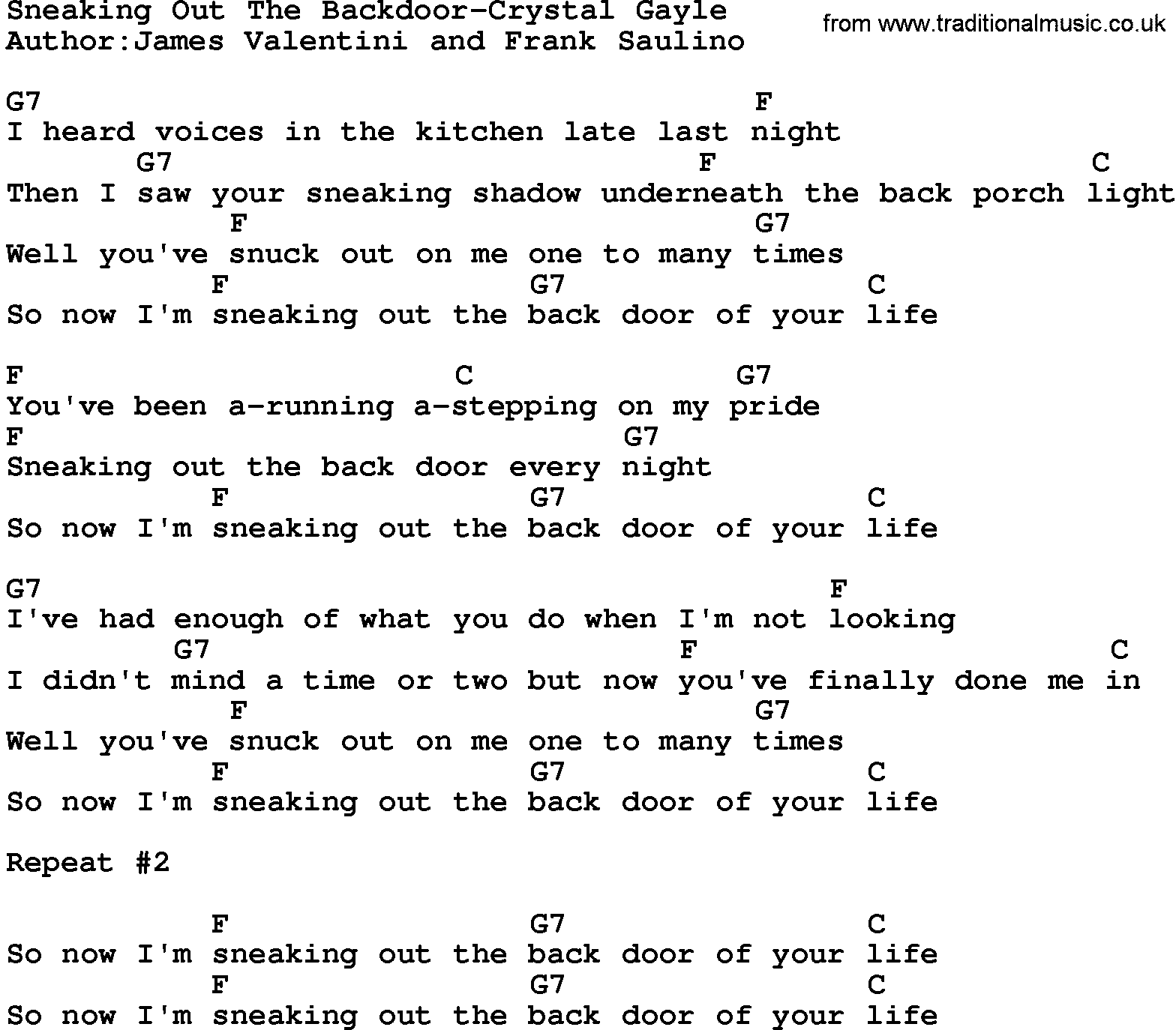 music song sneaking out the backdoor crystal gayle lyrics and chords