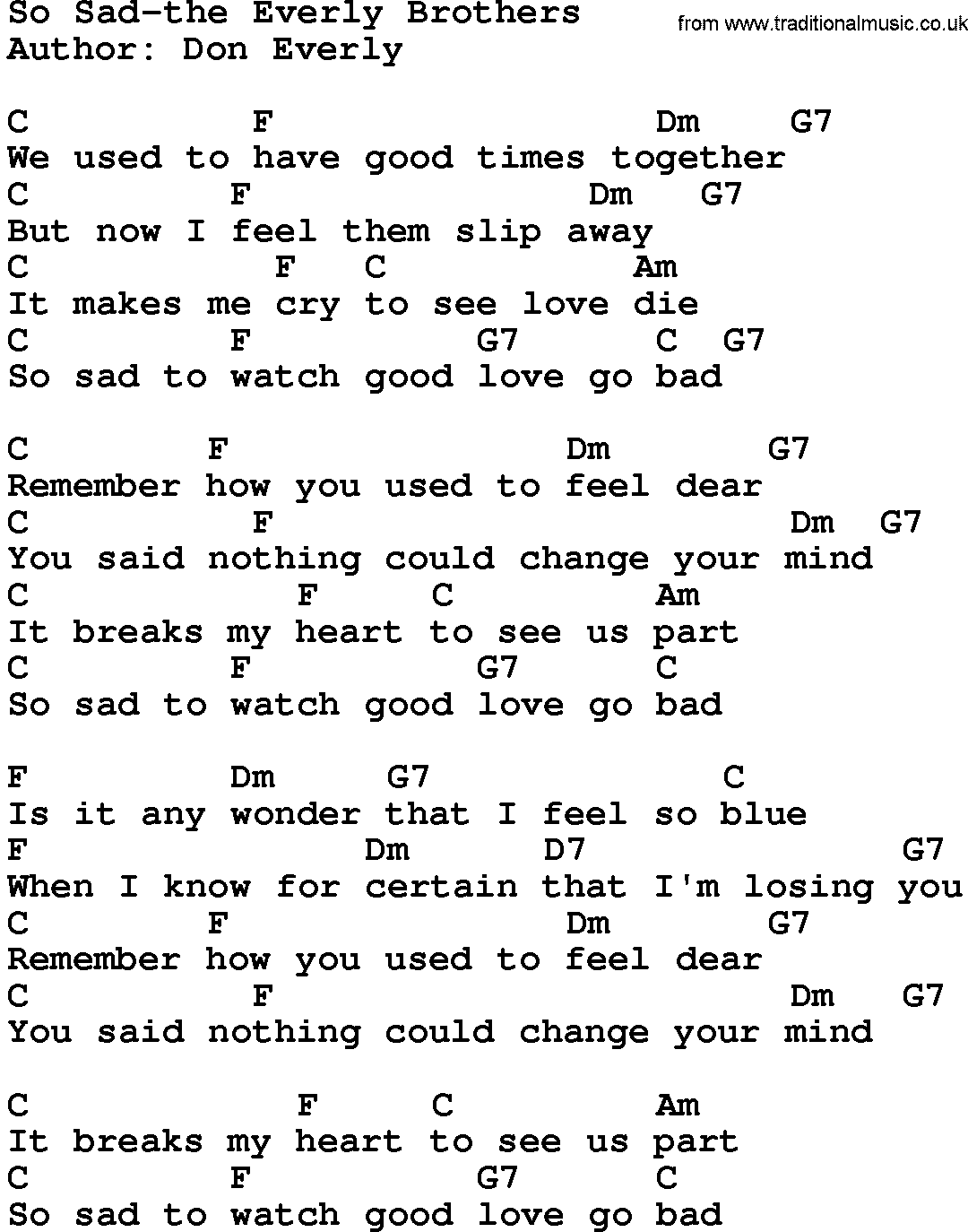 Country Music So Sad The Everly Brothers Lyrics And Chords