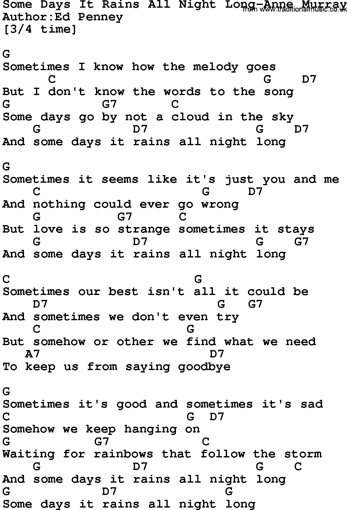 Country musicsome days it rains all night long anne murray lyrics country musicsome days it rains all night long anne murray lyrics and chords hexwebz Images