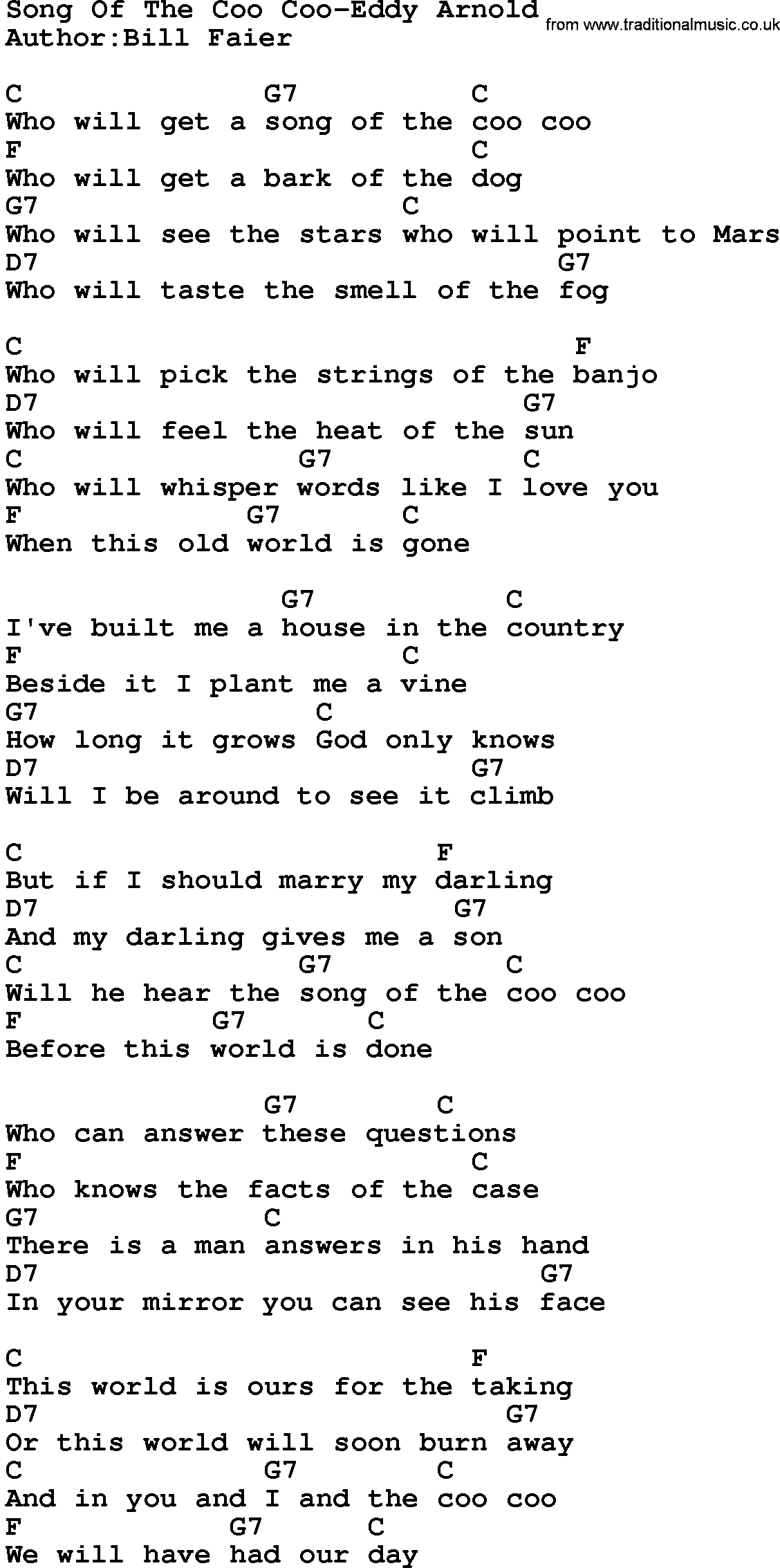 Country Musicsong Of The Coo Coo Eddy Arnold Lyrics And Chords