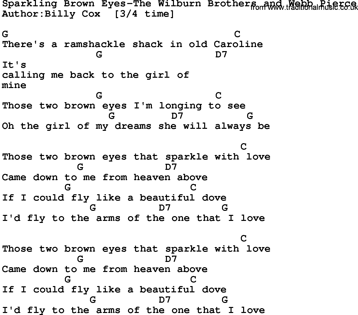 Country Music Sparkling Brown Eyes The Wilburn Brothers And Webb Pierce Lyrics And Chords