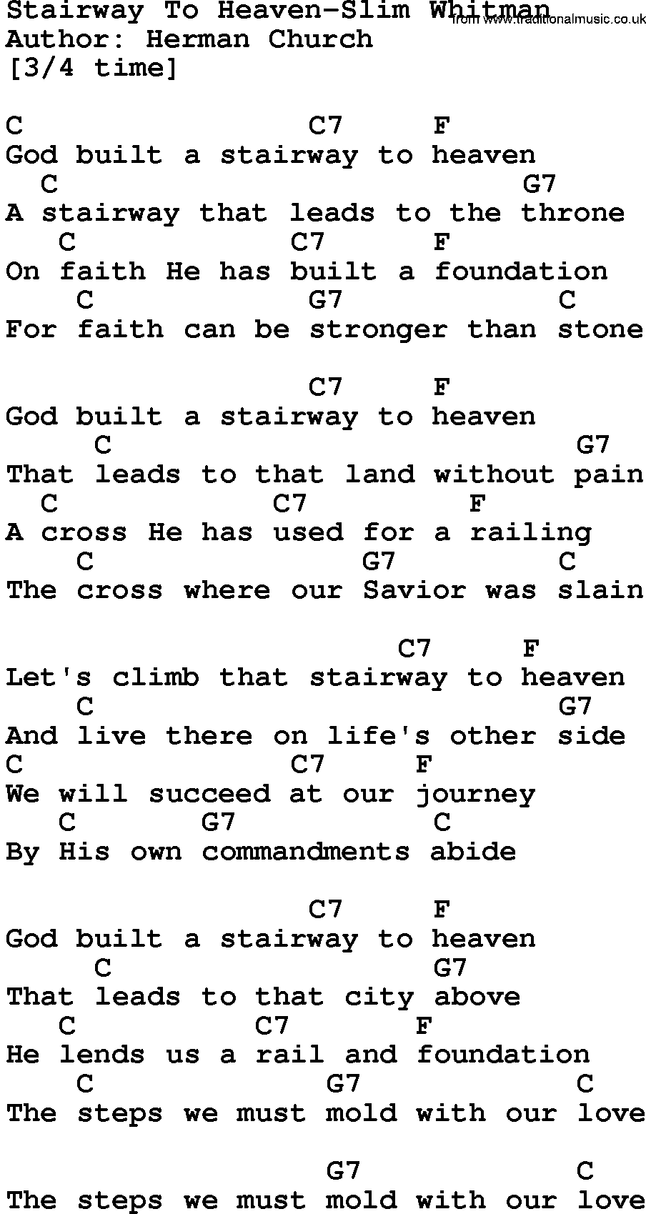 Country Musicstairway To Heaven Slim Whitman Lyrics And Chords