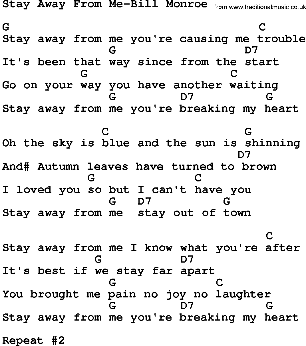 Country Musicstay Away From Me Bill Monroe Lyrics And Chords