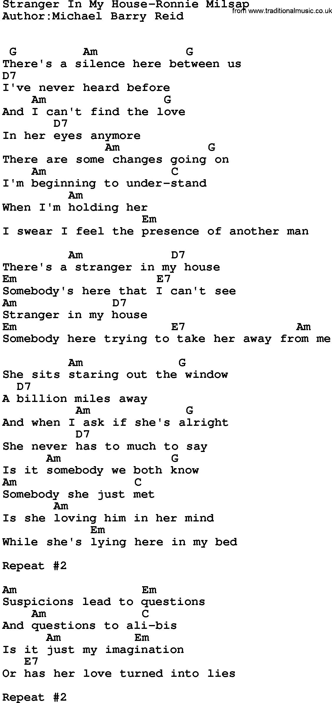 Country music stranger in my house ronnie milsap lyrics for Classic house chords
