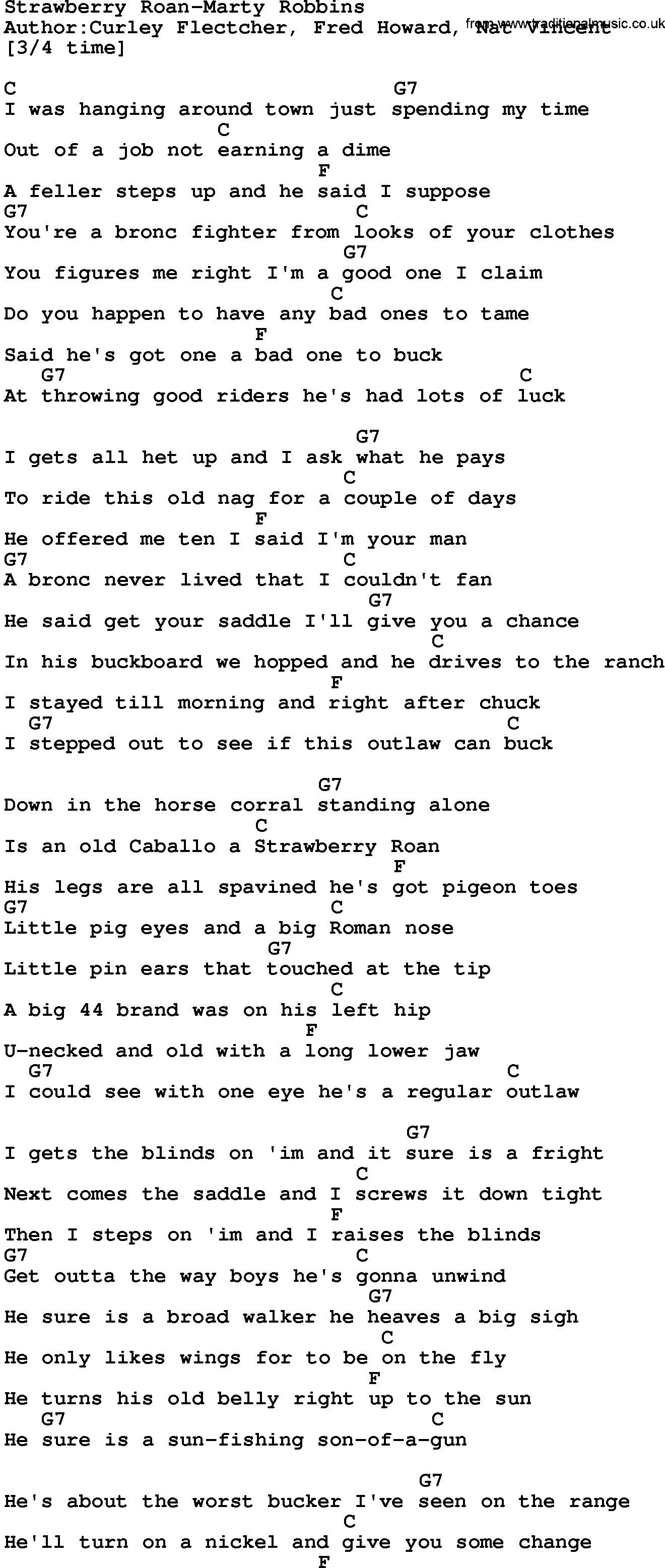 Country Music:Strawberry Roan-Marty Robbins Lyrics and Chords - photo#7