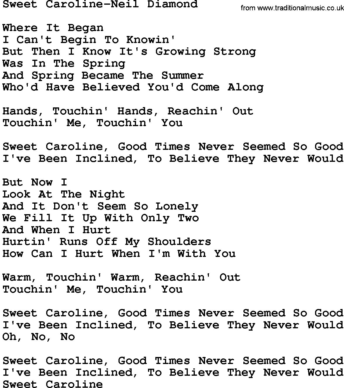 Country Musicsweet Caroline Neil Diamond Lyrics And Chords