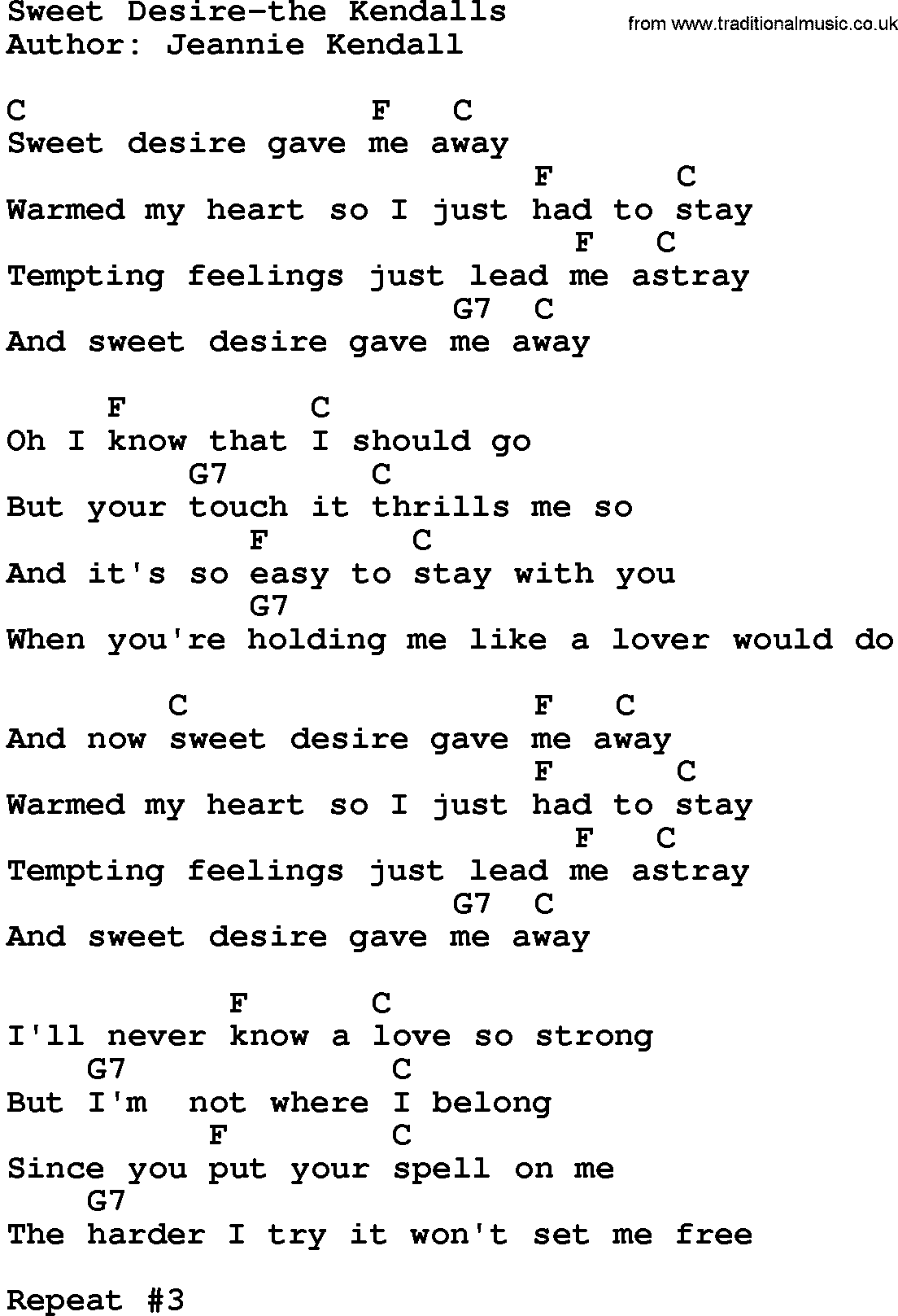 country music sweet desire the kendalls lyrics and chords