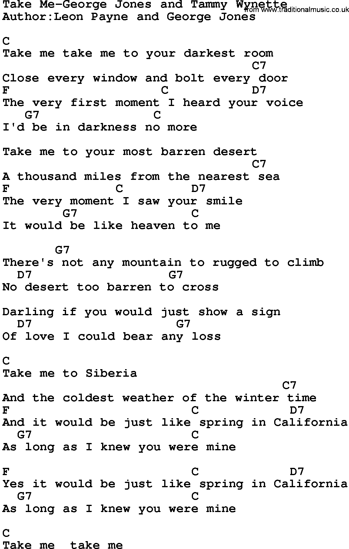 Country musictake me george jones and tammy wynette lyrics and chords hexwebz Image collections