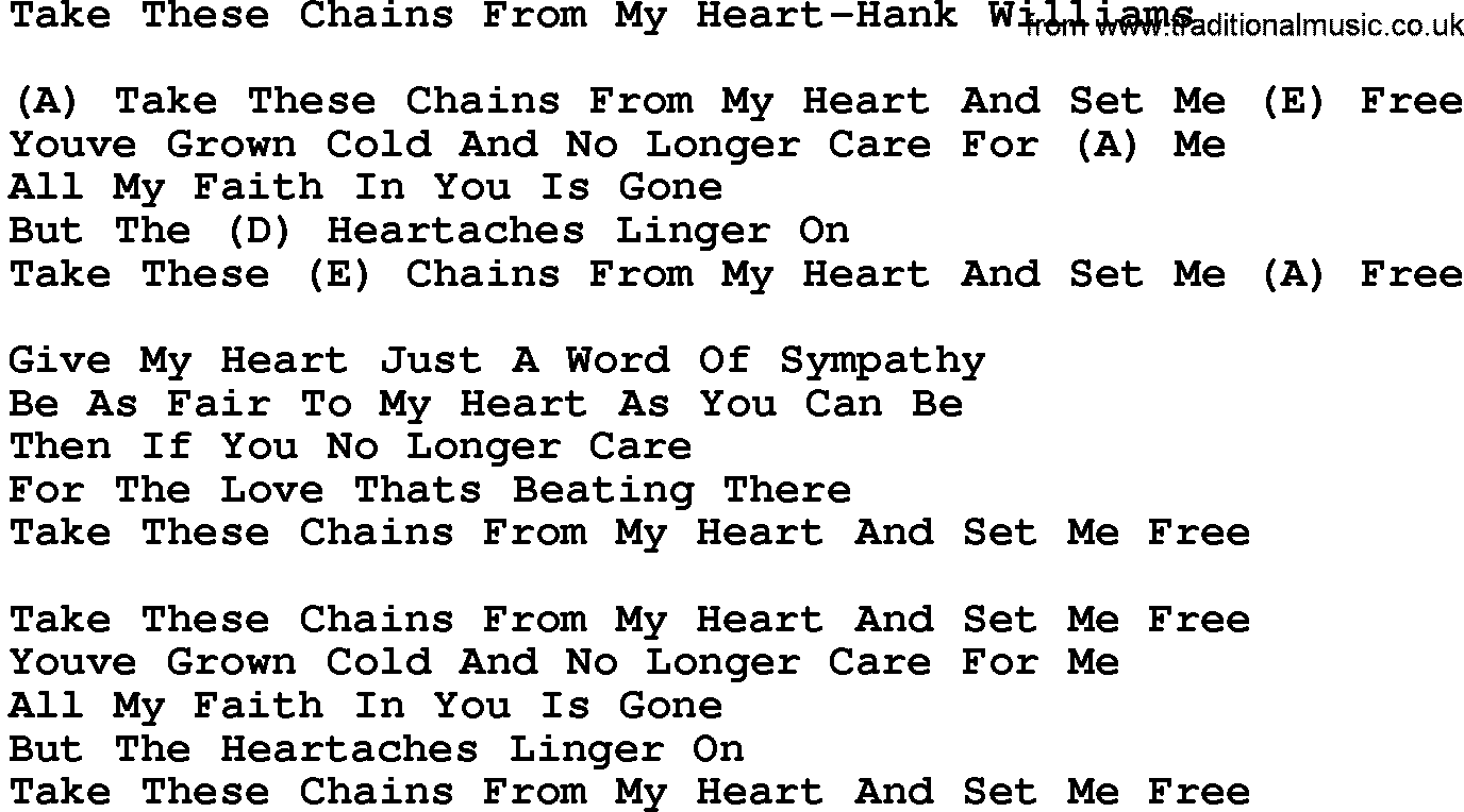 Country Musictake These Chains From My Heart Hank Williams Lyrics