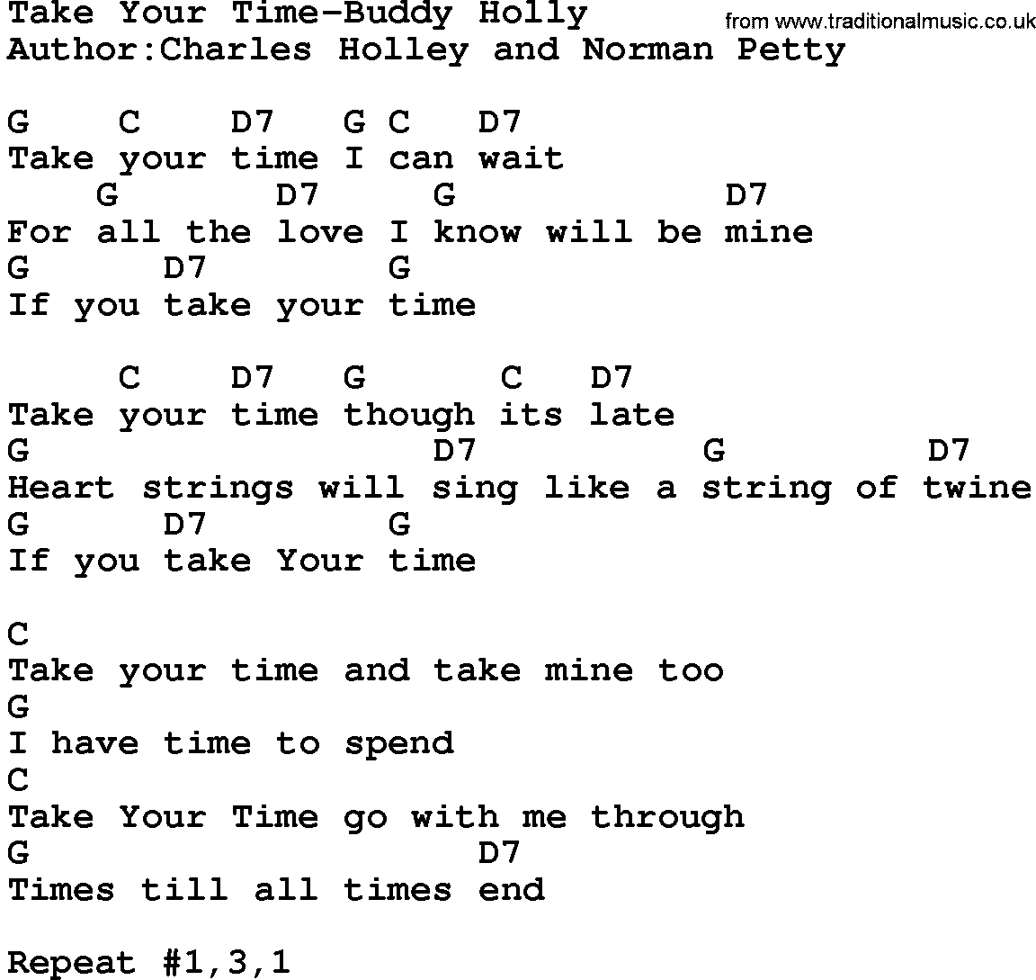 Country Music:Take Your Time-Buddy Holly Lyrics And Chords
