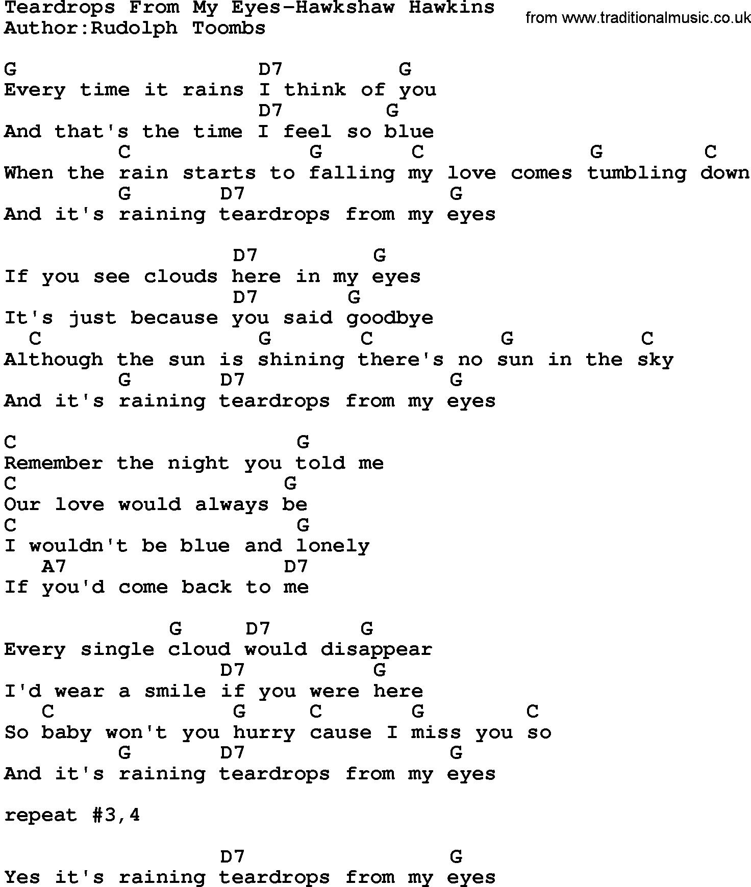 Country Musicteardrops From My Eyes Hawkshaw Hawkins Lyrics And Chords