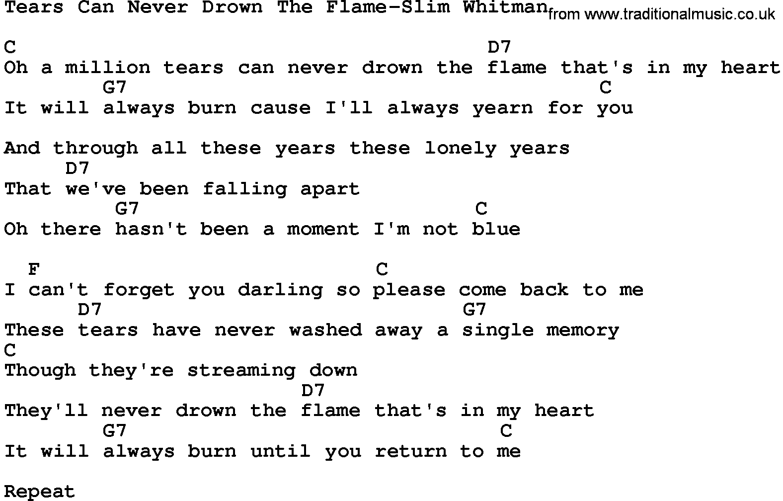 Country MusicTears Can Never Drown The Flame Slim Whitman Lyrics ...