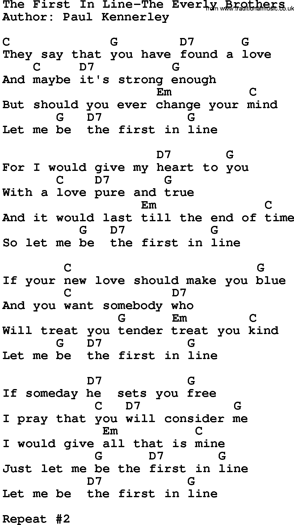 Country Music The First In Line The Everly Brothers Lyrics And Chords Have you ever felt forgotten in the middle of nowhere? traditional music library