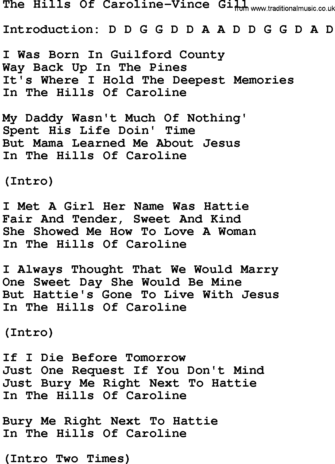 Country Musicthe Hills Of Caroline Vince Gill Lyrics And Chords