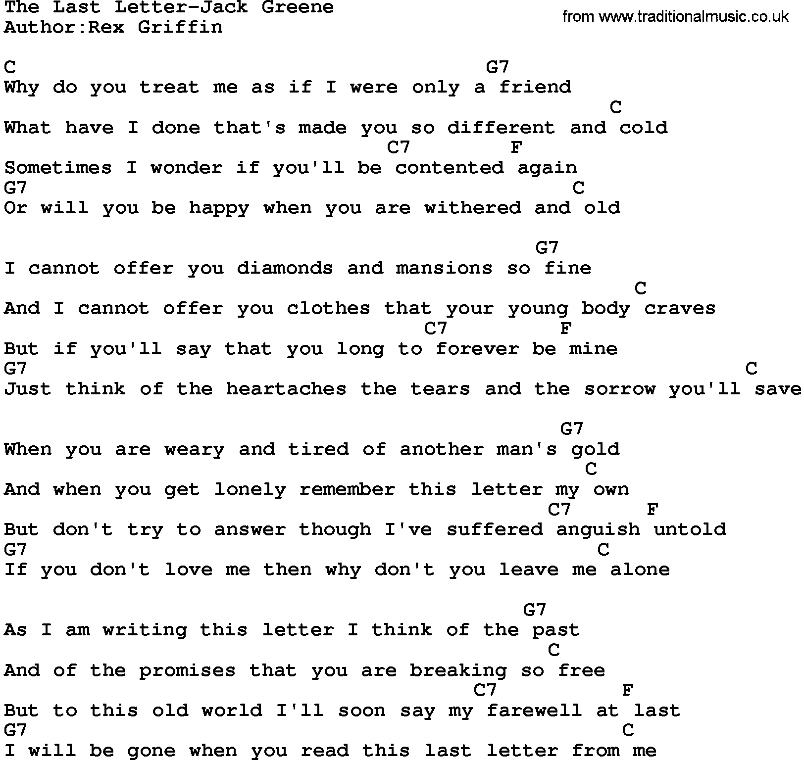 Country musicthe last letter jack greene lyrics and chords hexwebz Image collections