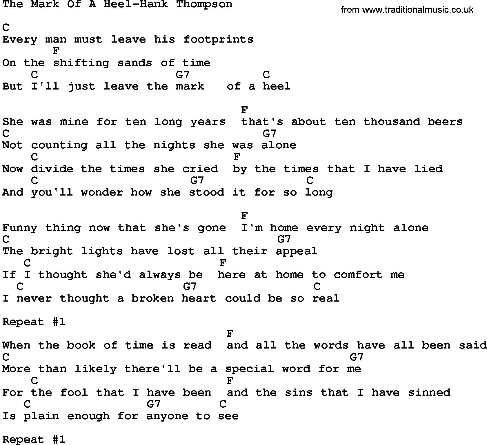 Country Musicthe Mark Of A Heel Hank Thompson Lyrics And Chords