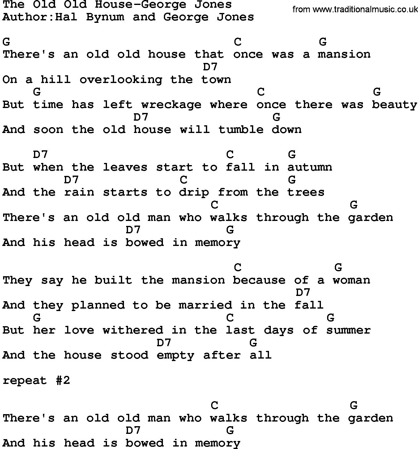 Country music the old old house george jones lyrics and chords for Classic house music songs
