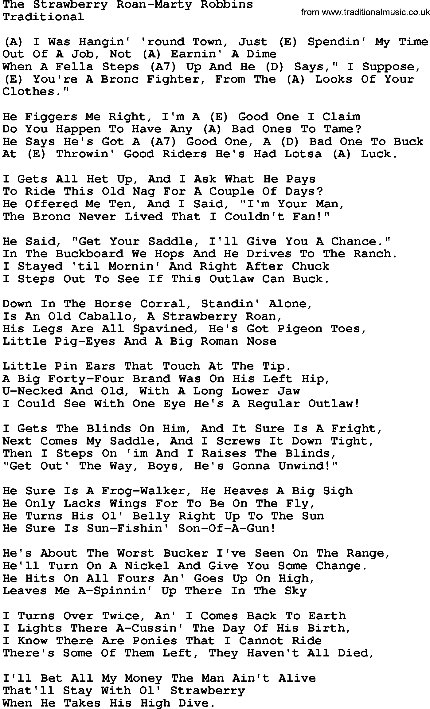 Country Music:The Strawberry Roan-Marty Robbins Lyrics and ... - photo#8