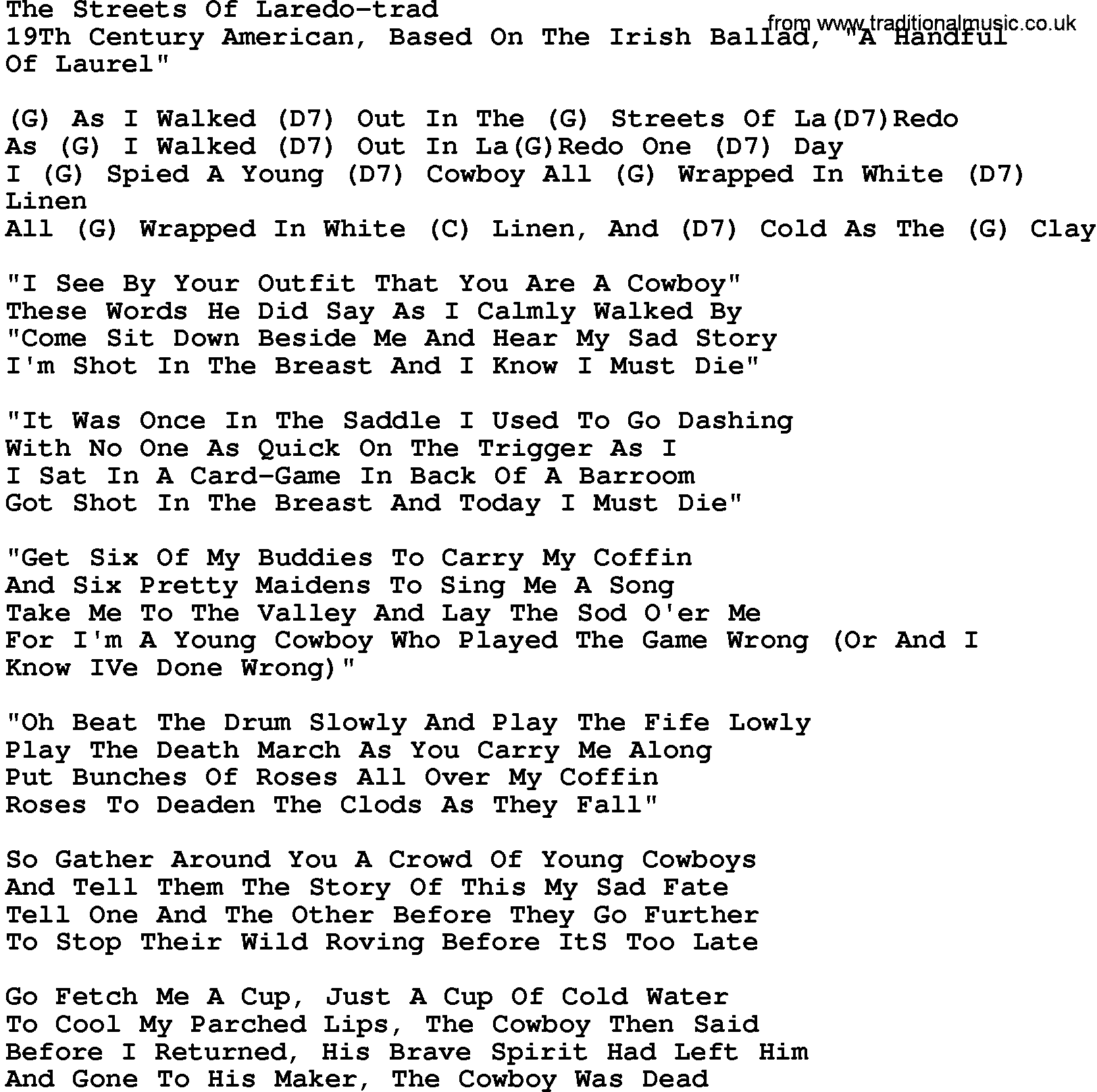 Country MusicThe Streets Of Laredo trad Lyrics and Chords